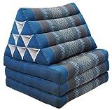 Wilai Kapok Thaikissen, Dreieck mit DREI Auflagen (82603 - blau/grau)