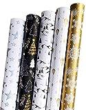 Weihnachts Geschenkpapier Edel Modern Weihnachtspapier und Geburtstagspapier für Modernes Stylische Weihnachten oder Geburtstags Xmas Merry Christmas Schwarz Goldenes Weißes Silber (Set2)