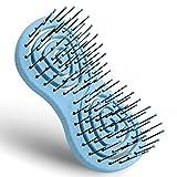 Ninabella® Mini Bio Haarbürste ohne Ziepen, Profi Entwirrungsbürste, Einzigartige Detangler-Bürste mit Spiralfeder, Blau