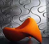Tapete Grau Silber Glänzend- Linien, Wellen, Geschwungen, Edel- Ideal für Wohnzimmer - Colani Visions - Made in Germany - 10,05m X 0,70m - 53340
