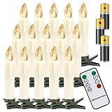 Hengda 40er LED Weihnachtskerzen Kabellos Warmweiß, mit Fernbedienung Timer und Batterien, Christbaumkerzen Kabellos, LED Kerzen Dimmbar, IP44, für Weihnachtsbaum, Weihnachtsdeko
