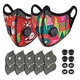 AIEOE 2Pcs Staubdichte Fahrradmaske mit 10Pcs Filter und 4Pcs Atematmung Ventil Waschbar Weihnachten Halbgesicht Visier Ersatzfiltern für Erwachsene und Kinder