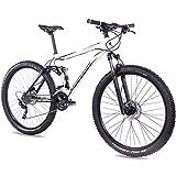 CHRISSON 29 Zoll Mountainbike Fully - Hitter FSF Weiss schwarz - Vollfederung Mountain Bike mit 30 Gang Shimano Deore Kettenschaltung - MTB Fahrrad für Herren und Damen mit Rock Shox Federgabel