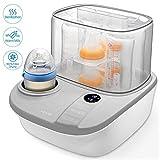 3 in 1 Dampfsterilisator Baby sterilisator Flaschenwärmer mit Trocknungsfunktion 900W, Platz für bis zu 6 Babyfläschen, LCD-Anzeige, Warmhaltefunktion und Auftauen