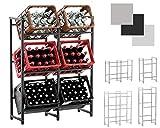 CLP Getränkekistenständer LENNERT I Platzsparender robuster Kistenständer für Getränkekisten I Verschiedene Ausführungen Schwarz, XL