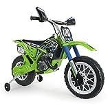 INJUSA - Elektromotorrad Kawasaki 6V empfohlen für Kinder über 3 Jahre Alt, mit Gashebel am Lenker und Gummibändern am Antriebsrad