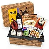 Geschenkkorb Olé mit spanischen Delikatessen I Präsentkorb gefüllt mit ausgesuchten Tapas-Klassikern & Rotwein aus Spanien