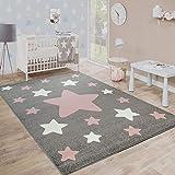 Paco Home Teppich Kinderzimmer Kinderteppich Große Und Kleine Sterne In Grau Rosa, Grösse:160x220 cm