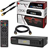 Kabel Receiver Kabelreceiver DVB-C HB-DIGITAL SET: Opticum HD C200 Receiver für digitales Kabelfernsehen (HDMI, SCART, USB) + 1m HDTV Antennenkabel mit Mantelstromfilter schwarz + HDMI Kabel