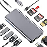 MOKAI START USB C Hub,13-in-1 Typ C Hub Adapter mit 4K HDMI,VGA,Ethernet,TF / 2 SD Kartenleser,2 USB 3.0,87W PD,Mic/Audio für MacBook Pro,Chromebook,Samsung S8, Huawei Mate 10 und Mehr Typ C Geräte