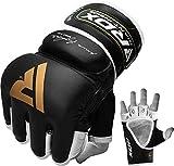 RDX Rindsleder MMA Handschuhe Grappling Sparring Kamfsport, schwarz, M