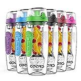 Opard Wasserflasche 946 ml Fruit InfOpard Trinkflasche 946 ml Fruit Infuser Sports Wasserflasche BPA-frei Tritan mit Kühlung Obst Flasche Kostenlose Rezept (Grün)