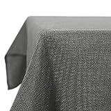 Deconovo Tischdecke Wasserdicht Tischdecke Lotuseffekt Tischtuch Leinenoptik 130x160 cm Grau