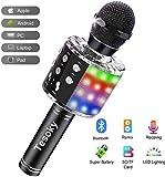 Karaoke Mikrofon mit Lichteffekte,Upgraded 4-in-1 Drahtloses Bluetooth Mikrofon für Kinder - Beste Gechenke,Tragbares Bluetooth Mikrofon mit Dual Sprecher für Hause KTV/Party