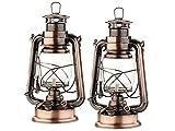 Lunartec Öllampe: 2er-Set nostalgische Petroleum-Sturmlaternen mit Glaskolben, 24 cm (Sturmlampen)