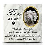 TULLUN Individueller Personalisiert Weißer Natur Marmor Gedenkstein für Hund, Katze und andere Haustiere - Größe 10 x 10 cm - Personalisiert Text und Foto
