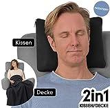 travelstar: patentiertes 2in1 Reise-Kissen (umwandelbar zur Decke), viele Farben (TS-B-1001) | 2 in 1 | Reisedecke | Decke | Kuscheldecke | Nackenstütze | Reisekissen | Kissen | für Frauen & Männer