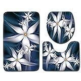 EU-VV Rutschfeste Bad-WC-Matte + U-Form Mat + WC-Sitzbezug,Blühende Blumen Fußmatte Bodenmatte Saugfähige Matten Badteppich Schlafzimmer Wohnzimmer Küche Dekoration (Weiß)
