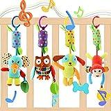 Evance Baby Spielzeug 4 Packs Kinderwagen Spielzeug Kinderbett Anhänge Cartoon Tier hängen Rassel Kleinkind Spielzeug weiche Flock Stoff mit Klingel Glocke (4 Stück)