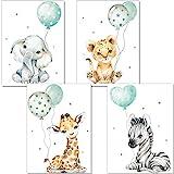artpin® Poster Kinderzimmer Deko - Bilder Babyzimmer Mint Grau für Junge Mädchen - Safari Dschungel Tierposter Luftballon P63