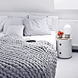 Here&There Rain Queen Decke Handgefertigt Riese Klobig Sticken Werfen Sofa Decke Handgewebt Sperrig Decke Zuhause Dekor Geschenk (120 * 150CM, Grau)