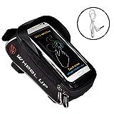 VGEBY1 Fahrradrahmen Tasche,Fahrrad Top Tube Bag Handytasche wasserdichte Sensitive Touch Bike Telefon Zubehör(Schwarz+Grau)