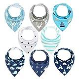 Baby Dreieckstuch 8er Halstücher Saugfähig Weich Spucktuch Baumwolle mit Druckknöpfen für Jungen und Mädchen YOOFOSS