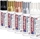 edding 5200 Permanent-Spray - Acryllack zum Lackieren und Dekorieren von Glas, Metall, Holz, Keramik, lackierb. Kunststoff, Leinwand, u. v. m. - Sprühfarbe (Metallic Set)