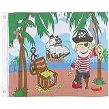 com-four® Piratenflagge mit Hiss-System, witterungsbeständige Spielzeugfahne für Spieltürme, Baumhäuser und mehr, lustige 60x50cm Piratenfahne für Kinder