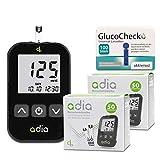 adia Blutzuckermessgerät (mg) + 110 Blutzuckerteststreifen + 110 Lanzetten Maxi-Sparset zur Blutzucker-Selbstkontrolle bei Diabetes