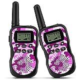 OUNUO Walkie Talkie Kinder Spielzeuge Funkgerät, walky Talky 8 Kanäle 3KM Reichweite, 10 Klingeltöne LCD Bildschirm eingebaute Taschenlampe, 3 Schlüsselbänder Wasserdicht, 2 Stück, Rosa
