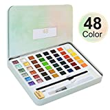LAOYE Aquarellfarben, 48 Wasserfarben Set Aquarell Farbkasten - 36 Aquarell Wasserfarben,12 Metallic Aquarellfarben-Glitter, Wassertankpinsel, Bleistift - Aquarellfarbkasten für Anfänger, Profis