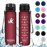 KollyKolla Trinkflasche - BPA-frei Auslaufsicher Sport Wasserflasche, 1000ml Tritan Sportflasche Kohlensäure Geeignet Kunststoff mit Filter für Kinder, Schule, Baby, Fahrrad, Gym, Matte Dunkelrot