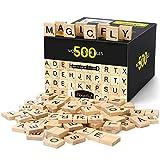 Magicfly Fliesen, 500 Stück Buchstaben Holz zum Spielen, Holzbuchstaben Fliesen Buchstaben aus Holz Fliesen mit Zahlenwerten zum Basteln DIY