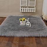 Cumay Faux Lammfell Schaffell Teppich (60 x 90 cm) - Geeignet für Wohnzimmer Teppiche Flauschig Lange Haare Fell Optik Gemütliches Schaffell Bettvorleger Sofa Matte,Grau