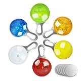 morpilot 6 Pcs Sicherheits Clip-On LED Blinklicht für Hunde, Katzen, wasserdicht Licht Hundehalsband für Nachtwandern mit 6 pcs Batterie, Hunde Leuchtanhänger Clip-On LED Blinkmodis auch für Kinder