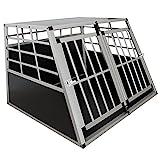 Sam´s Pet Aluminium Hundetransportbox Größe XL schwarz/Silber| Alu Auto Transportbox große Hunde | Hundebox für PKW Kofferraum