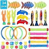 34 Stück Tauchen Spielzeug Pool Unterwasser Schwimmspielzeug, 5 Tauchstock, 4 Tauchringe ,4 Toypedos, 3 Algen, 3 Fische, 3 Delphin und 12 Edelsteine Sommer Schwimmbad Diving Spielzeug für Kinder