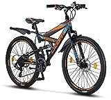Licorne Bike Strong D 26 Zoll Mountainbike Fully, geignet ab 150 cm, Scheibenbremse vorne und hinten, Shimano 21 Gang-Schaltung, Vollfederung, Jungen-Herren Fahrrad, mit Vorder- und Hinterschutzblech
