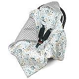 Einschlagdecke für Babyschale Kinderwagen Autositz - universal baby Decke z. B. Maxi Cosi, Buggy Autoschale Babydecke aus Minky Oeko-Tex zertifiziert (Hellgrau minky mit Tiere, 90cm x 90cm)