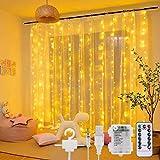 LEDLichtervorhang - 3Mx3M 300 LED LichterkettenvorhangBatterie 8 Modi Wasserdicht USB Lichterketten Vorhang mit Fernbedienung Timer Lichtvorhang für Partydekoration Schlafzimmer Deko (Warmweiß)