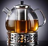 Zoë&Mii 1500ML Teekanne aus Glas mit Deckel, Glas und Stövchen für losen Tee - Geschenke - Glas Teezubereiter mit Teesieb - Tee-Set mit Teeglas und Siebeinsatz aus Edelstahl