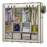 UDEAR Kleiderschrank Einfach aus Stoff Faltschrank Stoffschrank Furniture Bedroom Wardrobes Beige
