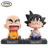 Yovvin 2 Pack Dragonball Z Actionfigur, Son Goku & Krillin PVC Figur Actionfigur Mit Funktion von Handyhalter für Kinder Jugendliche Erwachsene und Anime-Fans