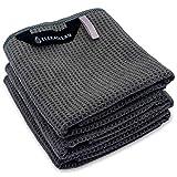 ELEXACLEAN Geschirrtücher (3er Set, 68x42 cm, anthrazit) weiche Microfaser Geschirrhandtücher, Waffeltücher Handtücher für die Küche