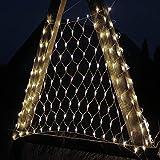 DecoKing 200er LED Lichternetz warmes Weiß statisch strombetriebene Lichterkette Lichtervorhang Innen und Außen Gartendeko