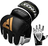 RDX MMA Handschuhe für Kampfsport, Rindsleder Profi Trainingshandschuhe Sparring Grappling Gloves, Punchinghandschuh für Muay Thai, Kickboxen, Freefight, Boxsack, Sandsack (MEHRWEG)
