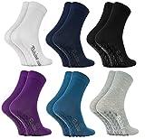 Rainbow Socks - Damen Herren Bunte Baumwolle Antirutsch Socken ABS - 6 Paar - Weiß Blau Marine Blau Schwarz Lila Grau - Größen 39-41
