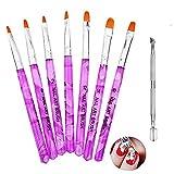 Pinselset 7-teilig für Nailart, UV-Gel, Acryl, 1er Pack von Ealicere (1 x 7 Stück) …
