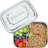 BREADL Edelstahl Brotdose, Spülmaschinenfest, Plastikfrei, 17x13x6cm, 1000ml, BPA-frei, Trennwand und 2 Fächer, Lunchbox & Bento-Box für Kinder & Erwachsene